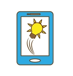 smartphone and bulb light icon vector image