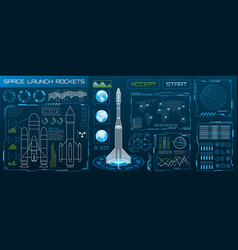 space launch interface rockets sky-fi hud head vector image