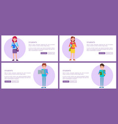 Students set web posters buttons pupils boys girls vector