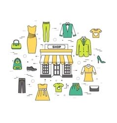 Thin line fashion clothing modern vector image