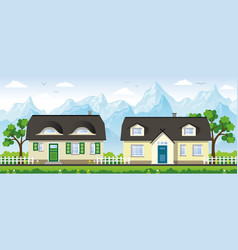two classical country houses in the mountains vector image