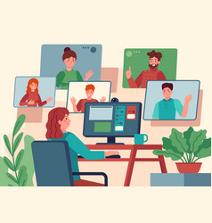 Video conference woman at home chatting vector