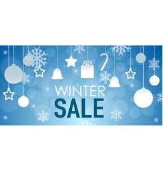 Winter sale poster design with ornaments vector