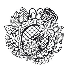 Zen tangle doodle floral ornament vector