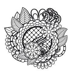 Zen tangle doodle floral ornament vector