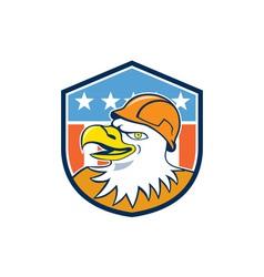 Bald Eagle Construction Worker Head Flag Cartoon vector image