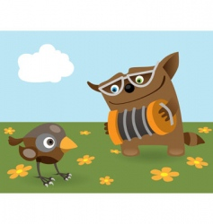 cat and sparrow vector image vector image