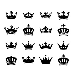 Collection of 16 crown silhouette symbols vector