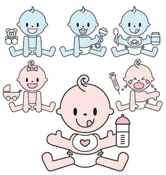 cute baby boys and girls set vector image vector image