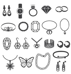 Jewelry Accessories and Gemstone Icons Set vector image
