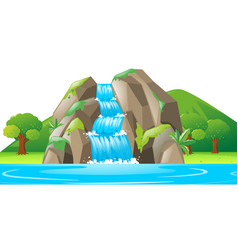 scene with waterfall and river vector image vector image