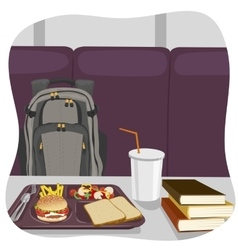 School lunch tray with stack of books vector image vector image