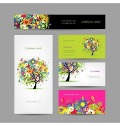Set of cards floral tree for your design vector image vector image