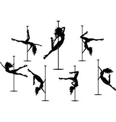 Seven pole dancers silhouettes vector image