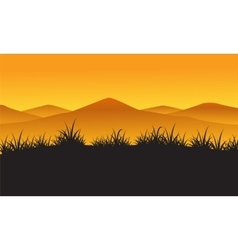 Silhouette of mountain at the sunset landscape vector