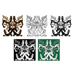 Wild dogs celtic knot ornaments vector image vector image