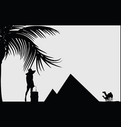 girl beauty silhouette front of pyramid travel vector image vector image