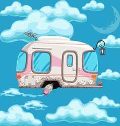 trailer flying in clouds on a background of the vector image