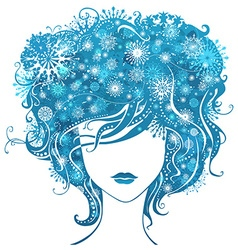 Abstract girl with snowflakes in hair vector image vector image