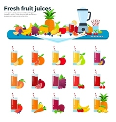 Glasses with fruit juices on the table vector image