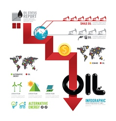 Infographic oil business of the world arrow concep vector image vector image
