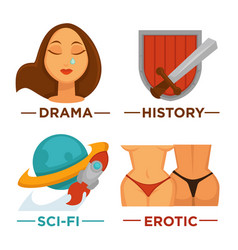 movie genre icons flat isolated symbols vector image