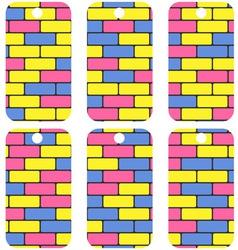 tags with colorful bricks vector image vector image