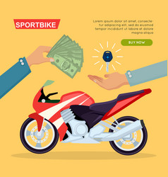 Hand passing key process of buying motorbike vector