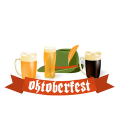 oktoberfest banners in bavarian color light and vector image