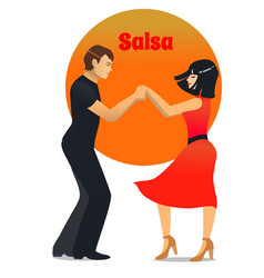 salsa dancing couple in cartoon style vector image