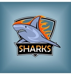 Sharks logo emblem for a sport team vector image vector image