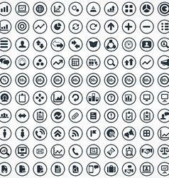 100 analytics research icons set vector image