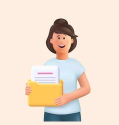 3d cartoon character young woman holding a folder vector