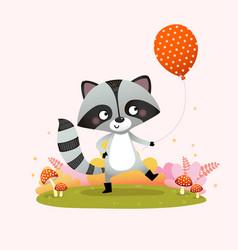 A cute raccoon holding balloon vector