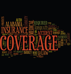 Auto coverage in alabama text background word vector