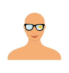 bald head woman with sunglasses blue sky sun and vector image