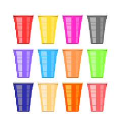 Beer pong tournament colorful plastic cups fun vector