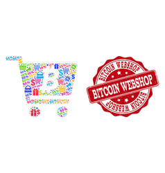 bitcoin webshop collage of mosaic and grunge stamp vector image
