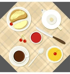 Breakfast with fresh food and vector