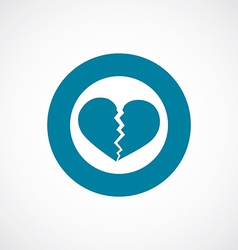 Broken heart icon bold blue circle border vector