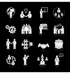 Business team meeting icons set vector