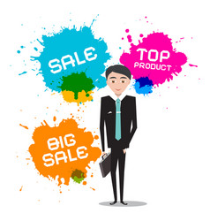 businessman with sale top product splashes vector image