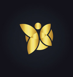 Butterfly colored gold logo vector