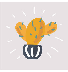 cactus in pot hand drawn style vector image