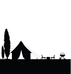 Camping in nature with tent black vector