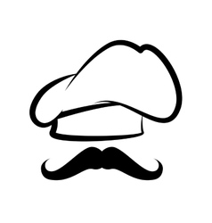 Cap chef hat mustache vector