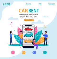 Car rent landing page flat person vector