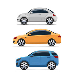 Car side view set colorful flat style vector