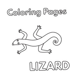 Cartoon lizard coloring book vector