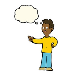 Cartoon shocked boy pointing with thought bubble vector